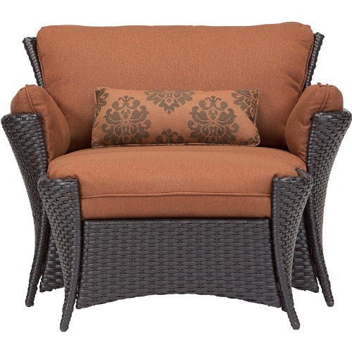 Hanover Strathmere Allure 2 Piece Set - Oversized Armchair and - Patio Ottoman Wicker