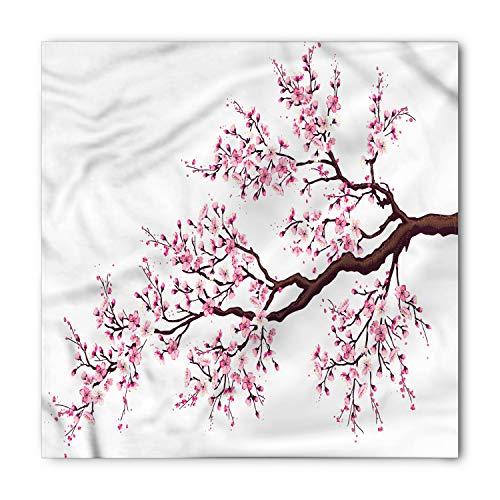 Ambesonne Unisex Bandana, Japanese Sakura Branch Blossoms, Pink Brown