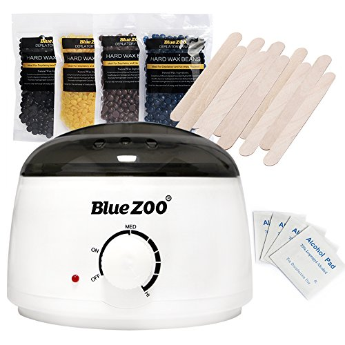 Bluezoo Waxing Kit Electric Wax Warmer with Hard Wax Beans Alcohol Prep Pads and Wax Applicator (Blue Zoo)
