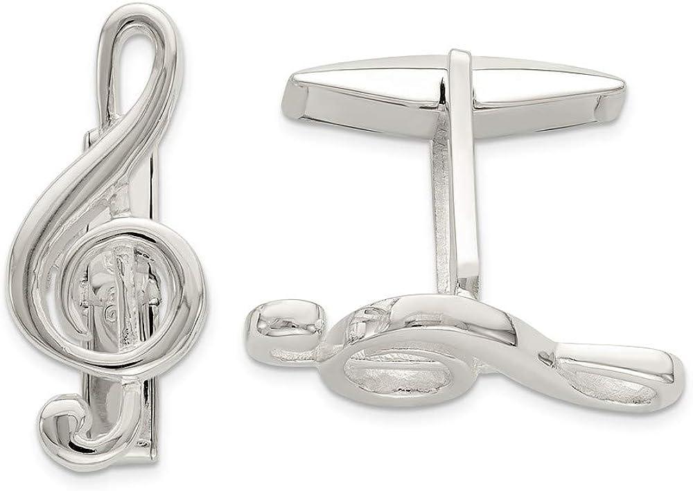 Jewel Tie 925 Sterling Silver Treble Clef Cuff Links