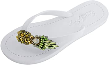 e06a6a30c4456 Sand by Saya Comfortable Rubber Sandals with Thong Stripe and Pineapple  Embellishment – Flip Flops