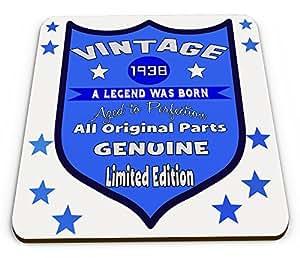 """Posavasos de regalo con texto en inglés """"A Legend Was Born Aged To Perfection"""", color azul (80 cumpleaños)"""