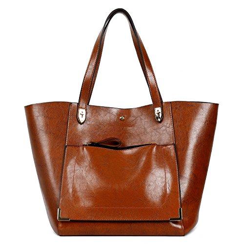 - Essfeeni 2pcs Set Top Handle Bag Shoulder Bag Satchel Handbags Tote Purse for Women Lady ABrown