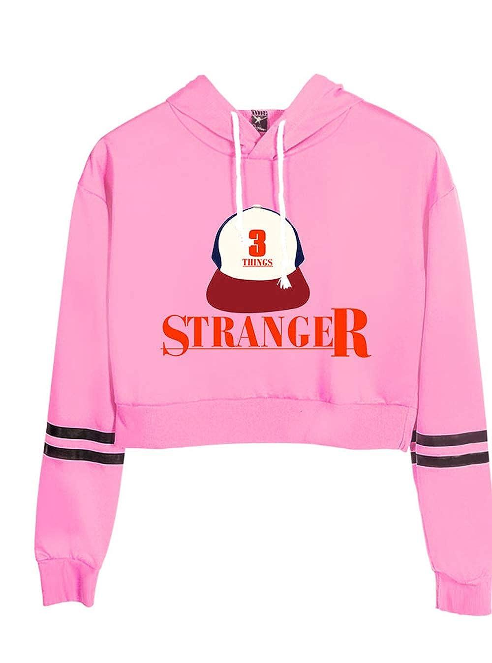 SIMYJOY Donna Stranger Things Estate Felpa con Cappuccio Cool Serie TV Crop Top Leggera Pullover Sportiva T-Shirt Ragazza Felpa Streetwear