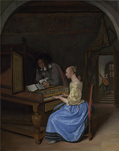 Oil Painting 'Jan Steen A Young Woman Playing A Harpsichord To A Young Man', 24 x 30 inch / 61 x 77 cm , on High Definition HD canvas prints - Westland Center Shopping