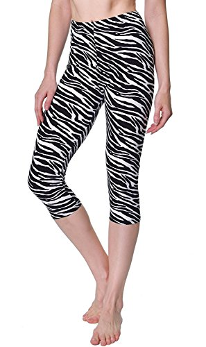 (VIV Collection Printed Brushed Capris (Zebra Animal))