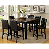 Boulder Black Finish Faux Marble Table Top 7-Piece Counter Height Dining Set
