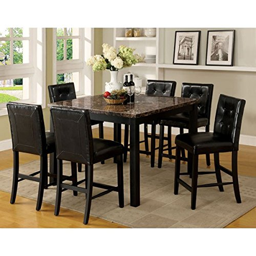 Boulder Black Finish Faux Marble Table Top 5-Piece Counter Height Dining Set
