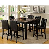 247SHOPATHOME Idf-3870PT-7PC Dining-Room, 7-Piece Set, Black