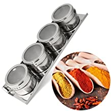 Boddenly Hot Kitchen Tools , Stainless Steel Magnetic Spice Storage Jar Tins Container With Rack Holder (4)