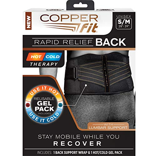 Copper Fit Men's Big & Tall Rapid Relief Back Brace, Black Big-L/XL