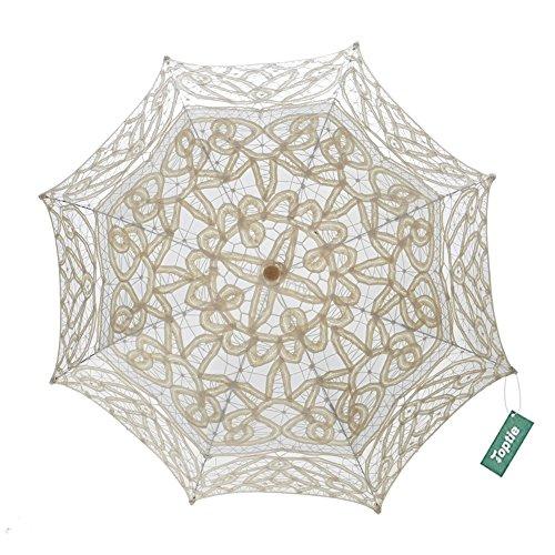 TopTie Lace Umbrella Wedding Parasol Bridal Shower Decoration Photograph Costume-Beige2 (Match Moments Elegant)
