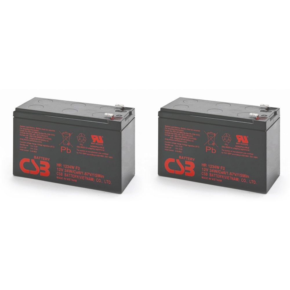 Pair of CSB HR1234WF2 12 Volt/9 Amp Hour (34 Watts) Sealed Lead Acid Battery w/0.250' Fast-on Terminals