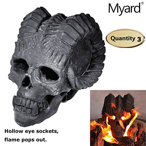 Myard DELUXE Demon Fire Pit Skull Gas Log for Natural Gas / Liquid Propane Fireplace or Fire Pit Halloween Decor (Qty 3, Black) - Grate Vented Natural Gas Log