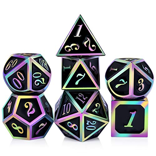 DNDND Rainbow Edge 7 Pieces Metal Dice Set DND Polyhedarl Heavy D&D Dice Set with Metal Tin for Dungeons and Dragons and Role Playing Game