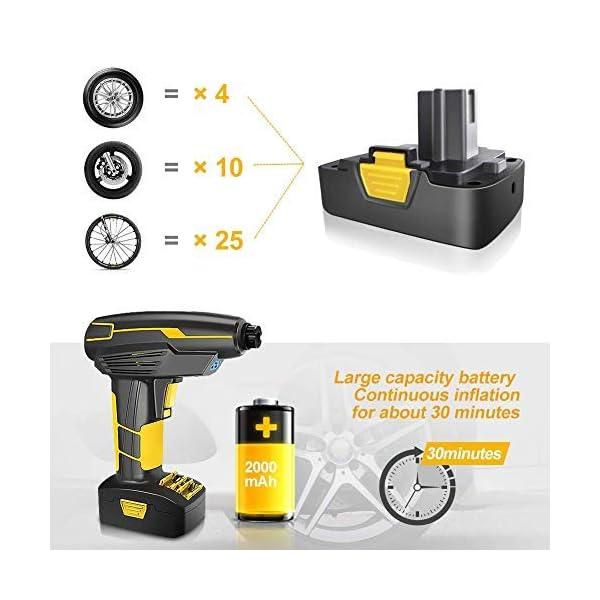Compresseur d'air Electrique Gonfleur Portable sans Fil Digital 12V Rechargeable avec Ecran LCD pour Moto Voiture etc