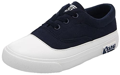 23b92108b2a5 VECJUNIA Boy s Girl s Canvas Flats Sneakers Round Toe Breathable Slip-On  Flats Jogging Shoes (