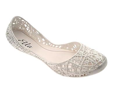 c2027e2a2a73 WOMENS JELLY FLIP FLOPS WEAVE BALLET PUMPS WATERPROOF JELLIES BEACH FLAT  SANDALS GIRLS LADIES SHOES SIZE UK 3 - 8  Amazon.co.uk  Shoes   Bags