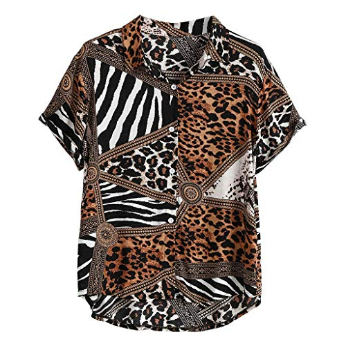 haoricu Men Short Sleeve Blouse Tops Summer Hawaiian Lapel Button Down t Shirt Geometric Leopard Print Shirts Brown