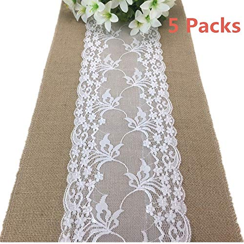 boyspringg Pack of 5 Jute Table Runners Burlap Lace Vintage Table Cloth Jute Country Festival Wedding Table Decoration Farmhouse Decor 12X108 for $<!--$36.26-->
