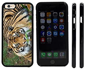 Rikki KnightTM Orange Stripes Tiger Close-up Design iPhone 6 Case Cover (Black Rubber with front bumper protection) for Apple iPhone 6