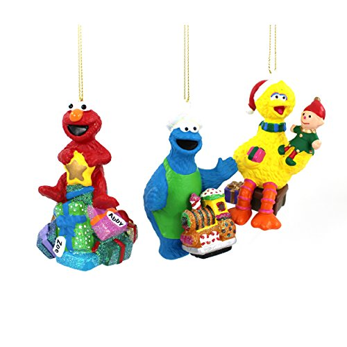 Sesame Street Kurt Adler Blow Mold Ornament Gift Boxed (Assorted 3 pc Set) (Sesame Street Christmas Ornaments)