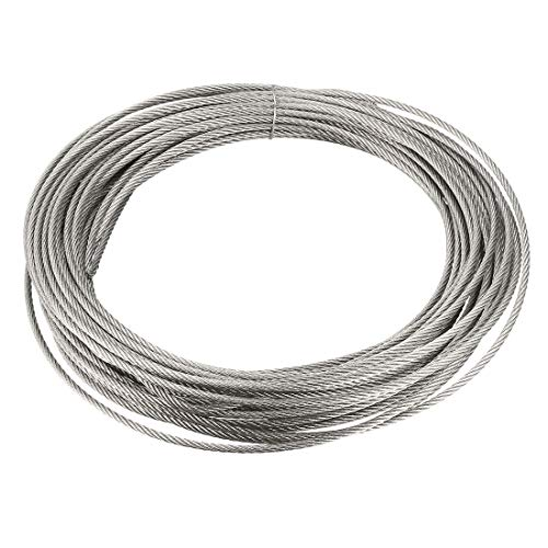 Buy Bargain uxcell Stainless Steel Wire Rope Cable 2mm 0.08 inch Dia 32.8ft 10m Length 14 Gauge 304 ...