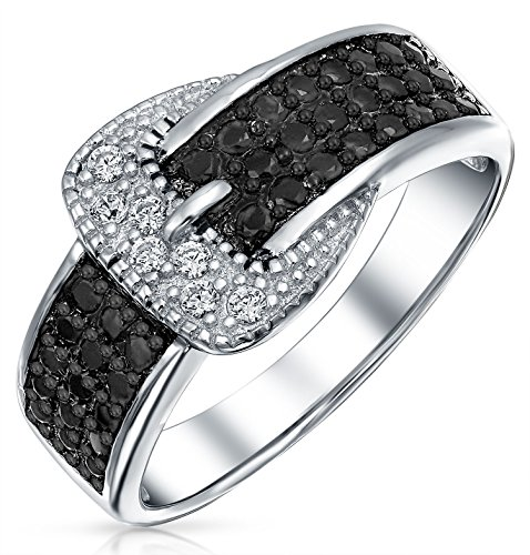 Wide 10mm Pave Cubic Zirconia Black and Colorless CZ Band Belt Buckle 925 Sterling Silver Fashion Ring ()