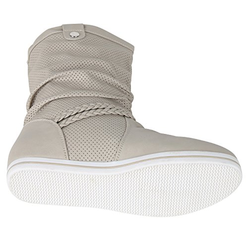 napoli-fashion Sportliche Damen Stiefeletten Stiefel Flache Boots High Low Top Jennika Creme