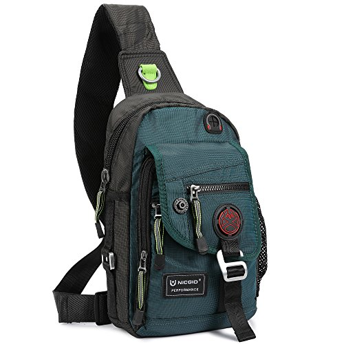 Nicgid Sling Bag Backpack Crossbody Bags for Ipad Tablet Outdoor Hiking(Dark Green)