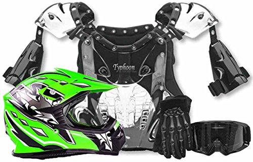 Youth Kids Peewee Offroad Gear Combo Helmet Gloves Goggles Chest Protector Motocross ATV Dirt Bike Black Green - Medium