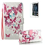Huawei P8 Lite 2017 Case [with Free Screen Protector], Funyye Premium New 3D Folio PU Leather Wallet Magnetic Flip Cover with [Wrist Strap] and [Colorful Printing Painting] Stylish Book Style Full Body Protection Holster Case for Huawei P8 Lite 2017