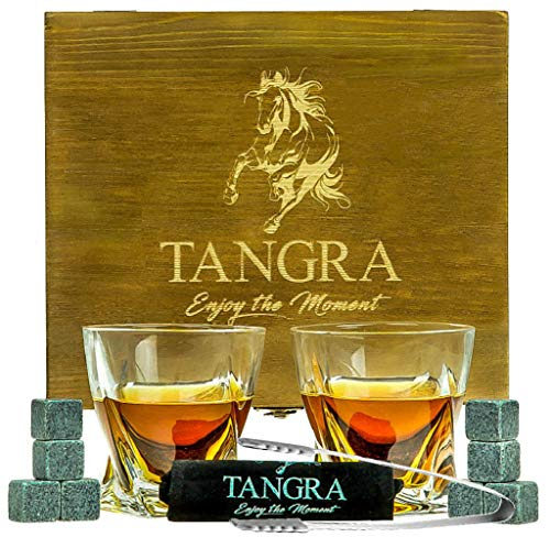 WHISKEY STONES LUXURY GIFT SET of 8 Granite Ice Cubes Reusable Chilling Rocks + 2 Large Size Scotch Glasses in Wooden Box. Cool Whiskey Gift Sets for Man Dad Father Groomsmen by TANGRA