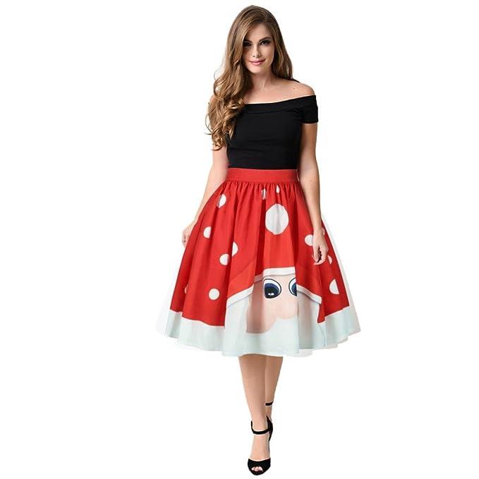 7bf597488774 ZIYOU Damen Rock Skirt A-Linie, Weihnachtsbaum Schneemann Print ...