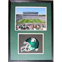 Michigan State Football Spartan Stadium Shadow Box Framed Mini Helmet and Picture