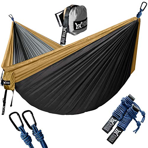 WINNER OUTFITTERS Double Camping Hammock - Lightweight Nylon Portable Hammock, Best Parachute Double Hammock for Backpacking, Camping, Travel, Beach, Yard. 118'(L) x 78'(W)