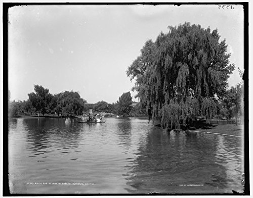 Boston Public Garden Photos - Vintography 24 x 30 Giclee Unframed Photo South end Lake in Public Garden Boston 1899 Detriot Publishing co. 37a