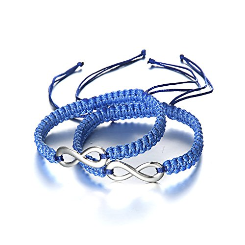RINHOO Handmade Key and Lock Lovers Braided Bracelet with Prince and Princess Letter Jewelry Set (Infinity(Dark Blue)) ()