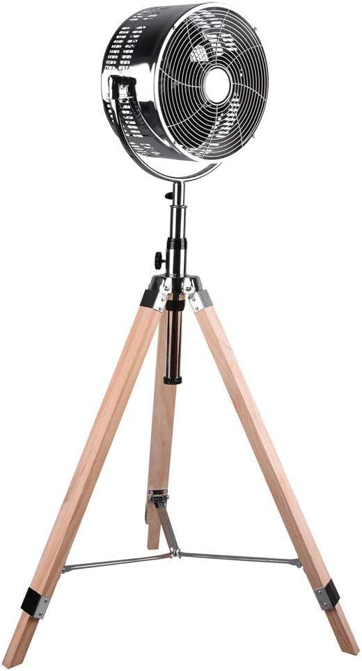 Ventilador de pie con trípode, aspecto retro, cromado, con trípode de madera, 3 niveles, oscilante y altura regulable, 120-140 cm, diámetro 28 cm