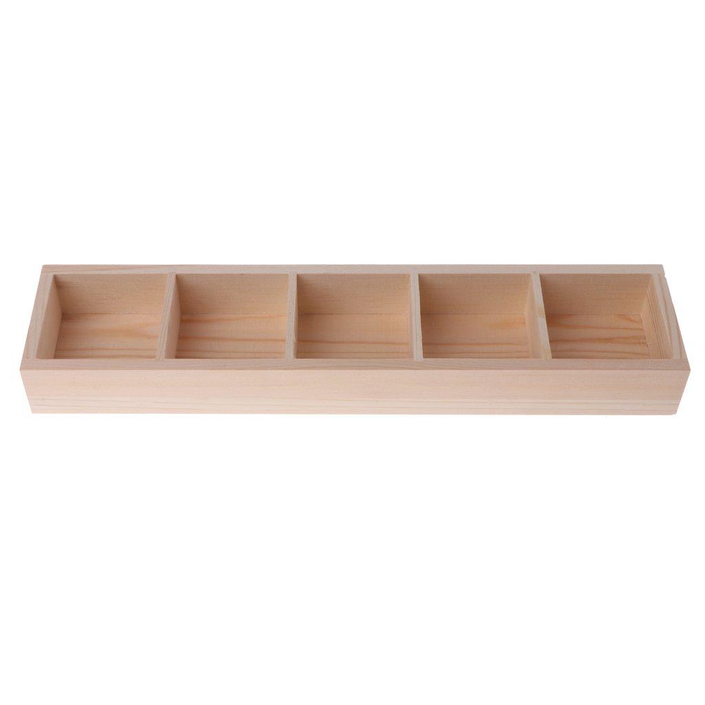 Kalttoy 5-Grid Wooden Succulent Plant Fleshy Flower Pot Box Tray Decorative Containers