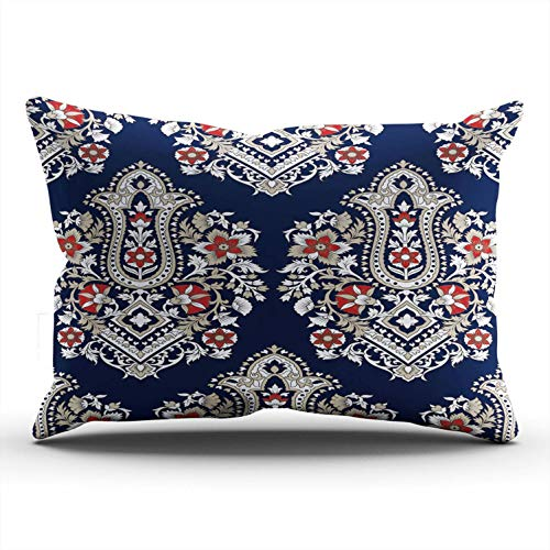 WULIHUA Pillow Covers Traditional Tribal Indian Paisley Sofa Durable Modern Pillow Case Decorative Custom Throw Pillow Cases one Side Printed Lumbar 12x24 Inches