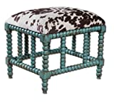 Uttermost Chahna Small Bench with Aqua Blue Finish On Solid, Grown Mango Wood With Cushioned Seat