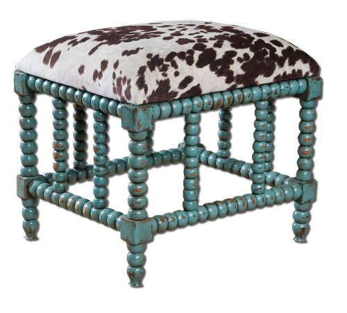Uttermost Chahna Small Bench with Aqua Blue Finish On Solid, Grown Mango Wood With Cushioned Seat by Uttermost