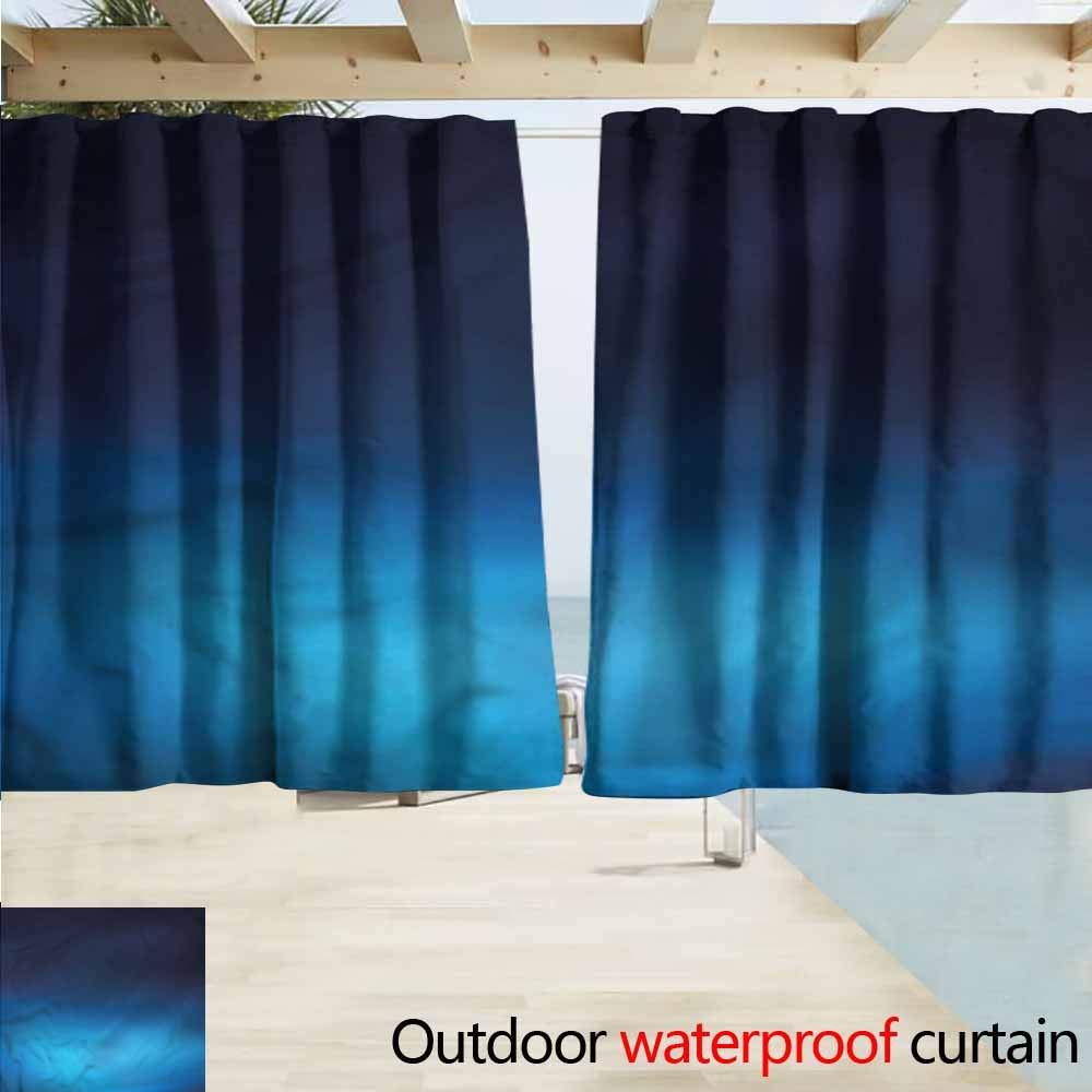 MaryMunger Outdoor Blackout Curtains Navy Blue Retro Fleur de Lis Design Darkening Thermal Insulated Blackout W55x39L Inches
