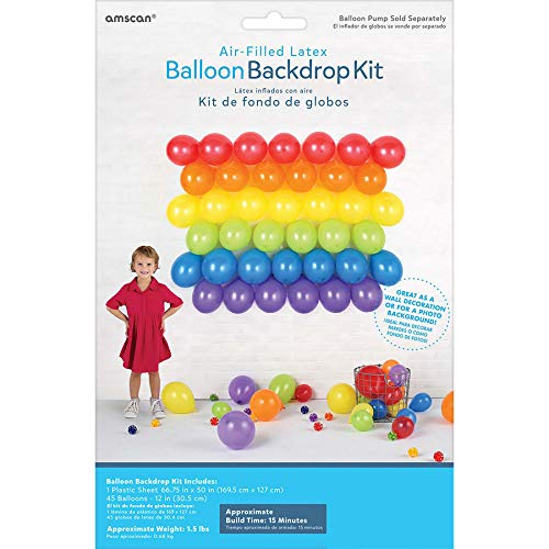 Amscan 117869 Primary Balloon Backdrop Kit Childrens-Party-Supplies, One Size, -