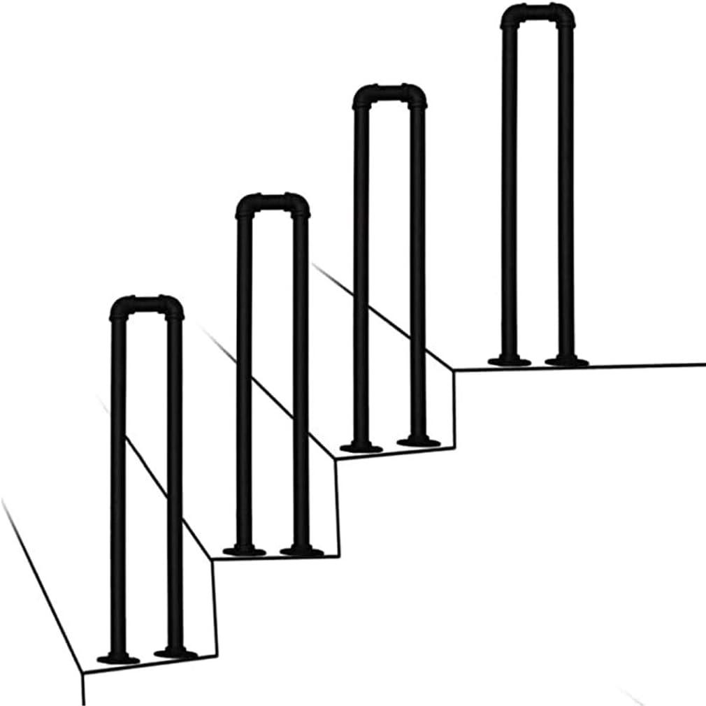 Tianboy_quilt Kit de barandilla de Escalera - Pasamanos de Hierro Forjado en Forma de U Pasamanos de Escalera de Tubo galvanizado de 1 escalón