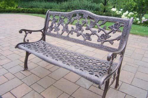 - Oakland Living English Rose Cast Aluminum Bench, Antique Bronze