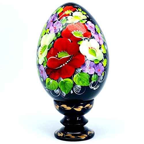 UA Creations Hand Painted Pysanka Lacquer Wooden Egg on Hold