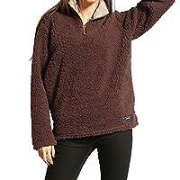 Womens Long Sleeve Tops Winter Warm Blouse Sweatshirt Zipper Fleece Pullover Top