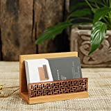 Bamboo Wood Business Card Display Holder, Professional Black Walnut and Natural Bamboo Cards Case for Desk Desktop Single Compartment Wooden Name Card Stand for Tables Organizer Index Card Filing